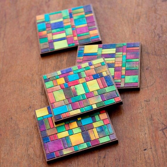 Handmade cut paper mosaic coasters. I have two pieces by Meg Bollinger and they are so beautiful! The colors and blends are just perfect.