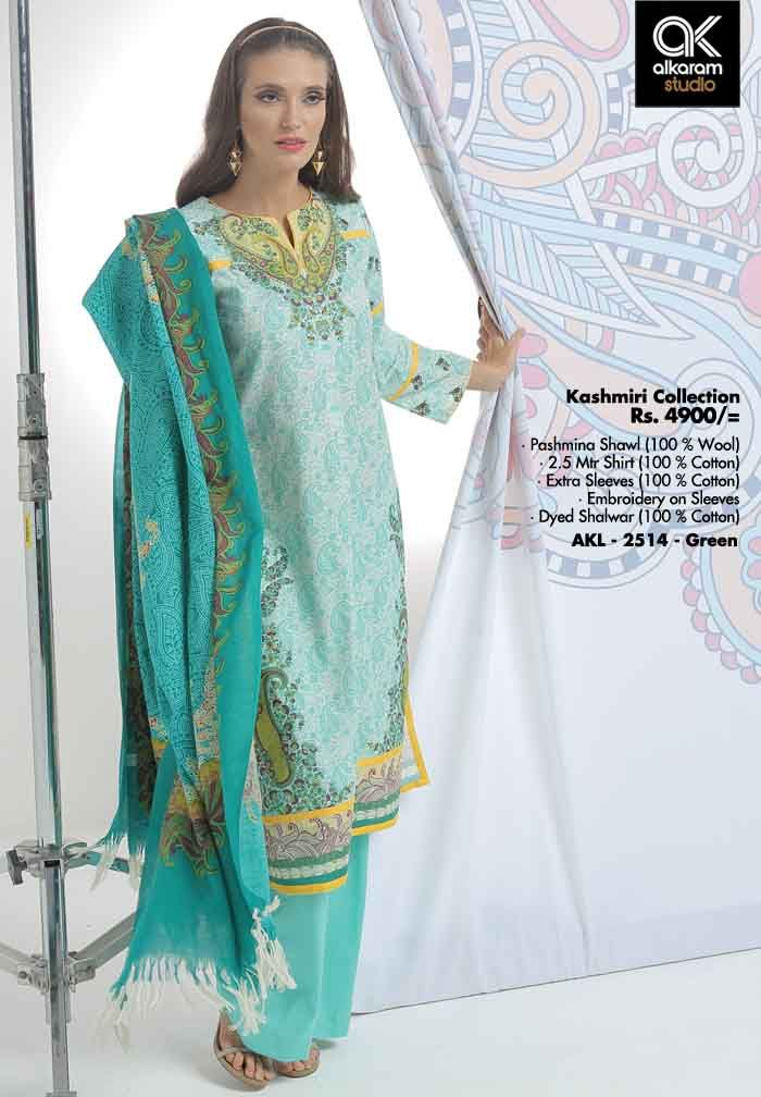 AKL 2514 - Green  Rs. 4900/- Pashmina Shawl (100 % Wool) 2.5 Mtr Shirt (100 % Cotton) Extra Sleeves (100 % Cotton) Embroidery on Sleeves Dyed Shalwar (100 % Cotton)  www.alkaramstudio.com