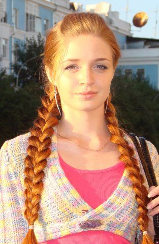 lovely redhead girl with long braids  long hair styles