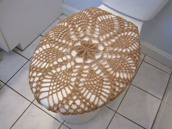 Crochet Toilet Seat Cover by ytang. //  ***THIS HAS TO BE TRANSFORMED INTO A VERY LARGE DOILY FOR THE CENTER OF THE KITCHEN TABLE, OR A MEDALLION FOR A SUMMER AFGHAN!!!  (no laughing!) ♥A