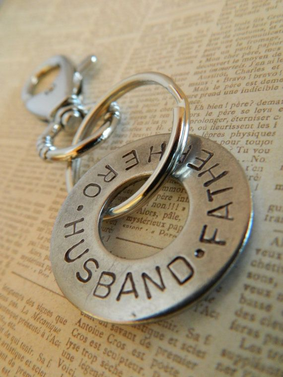 Hand stamped washer keychain for Dad Hero Father by erinsmeltz