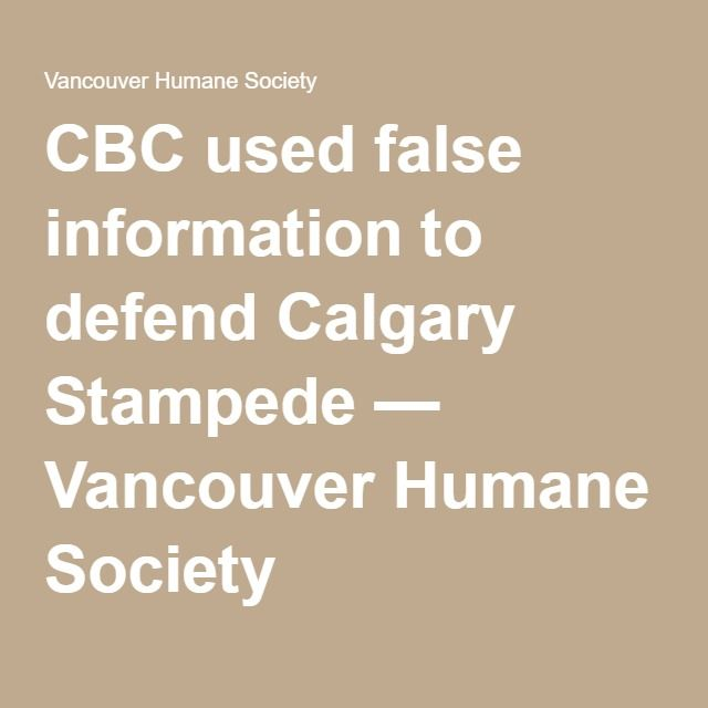 CBC used false information to defend Calgary Stampede — Vancouver Humane Society