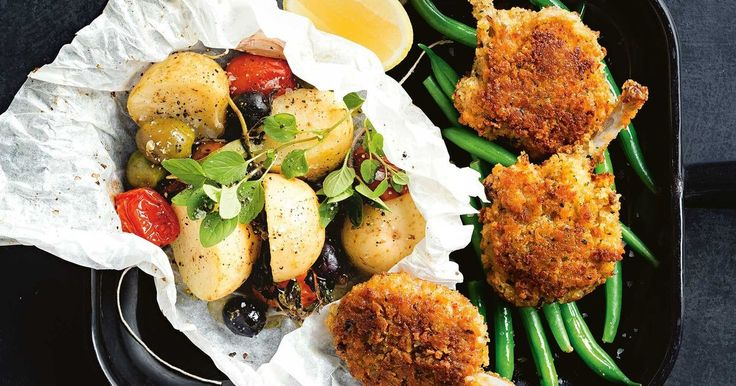 With a crispy haloumi crumb, these juicy lamb cutlets are best served with baked potatoes.