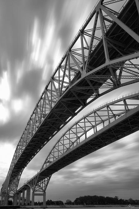 The Blue Water Bridge in Port Huron, Michigan - Black & White