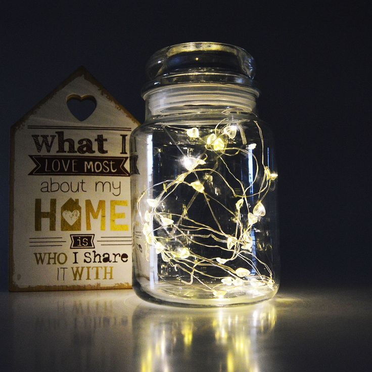 Recycle your candle jars by adding some LED lights to your empty jar.