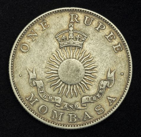 British East Africa Rupee Silver coin of 1888, Mombasa.