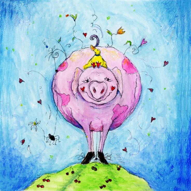 Sweet pig illustration by keanne