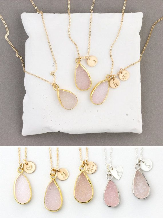 Natural Pink Druzy Crystal Necklace - with option for Personalized Tags. Makes a special, thoughtful gift! …………………………………. The PINK DRUZY TEARDROP Necklace • LN717  D E T A I L S: • genuine Druzy Crystal in varying shades of pink • option to add personalized tags (in drop down menu 1) (6mm disc or heart tag)  M A T E R I A L S: • 14k gold fill or sterling silver chain • sterling silver or gold-plated sterling bezel around stone • natural, genuine druzy crystal • our lovely packaging is made…