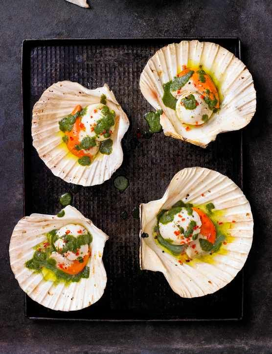 Scallops with Vietnamese herb sauce  These grilled scallops are super easy to make, low in calories and look impressive. Served with a vibrant Vietnamese herb sauce, this recipe is fresh and a great starter for 2