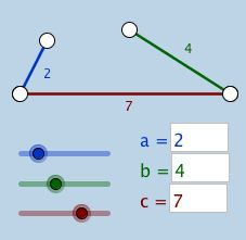Triangle Inequality Theorem (V1): Students can use this interactive applet to intuitively and informally discover this theorem.