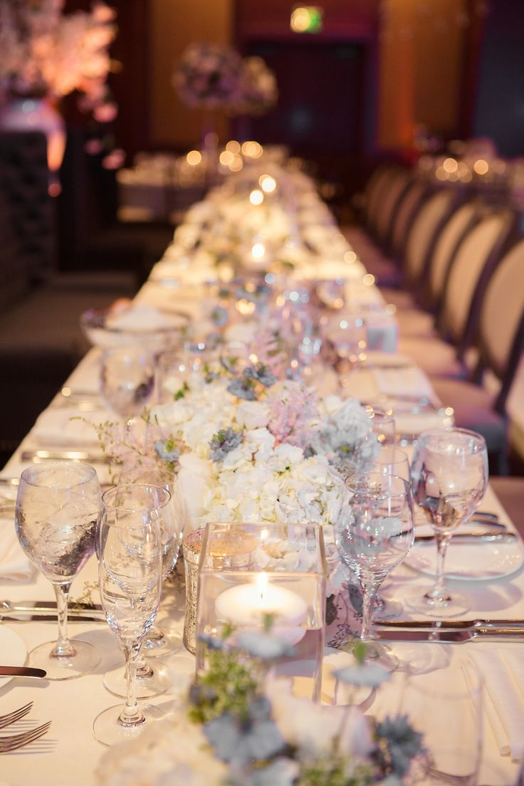 Soft Florals Wound Down This Long Head Table That Flanked The Dance Floor At Four Vail WeddingWedding
