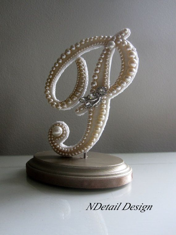 Wedding Cake Topper Monogram Letter P in Ivory Pearls and ...