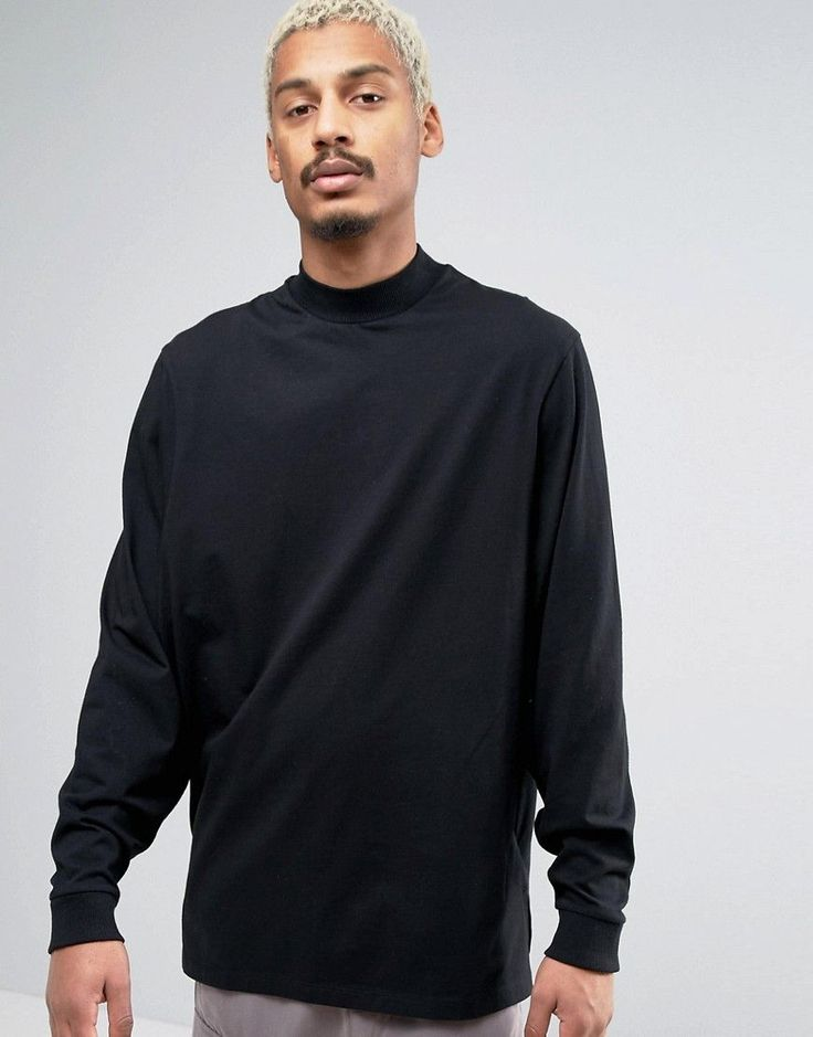 ASOS Oversized Long Sleeve T-Shirt With Extreme Batwing Sleeves In Bla