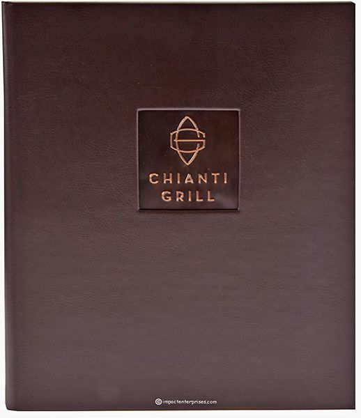 Chianti Grille - This captivating Dark Brown Faux Leather menu cover is tastefully decorated with an embossed and buffed logo in a copper tipon in the front cover.