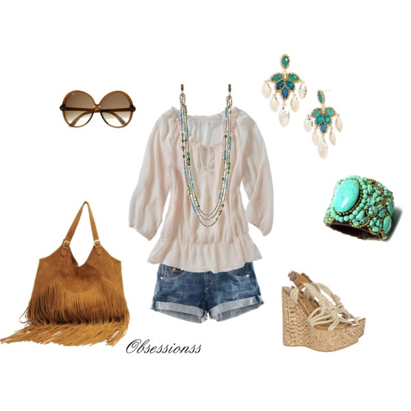 I love the turquoise in this outfit; little bohemian look to it. Is anyone else getting random comments as in advertising to links?: Fringes Purses, Shoes, Fashion, Summer Outfit, Style, Clothing, Shorts, Boho, Bags