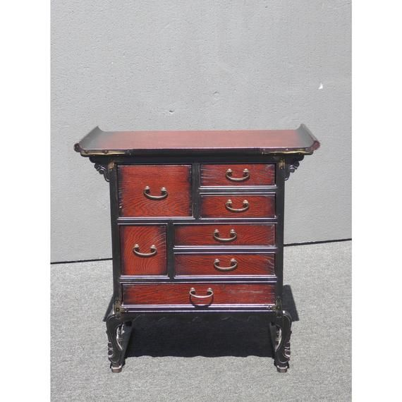 Vintage Oriental Apothecary Medicine Chest Of Six Drawers Vintage