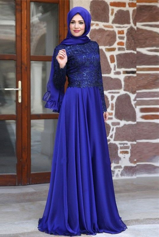 Newest Appliques Chiffon A-line Evening Dress 2016 Long Sleeve Zipper