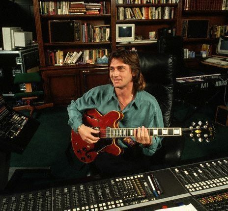 Mike Oldfield in the studio.