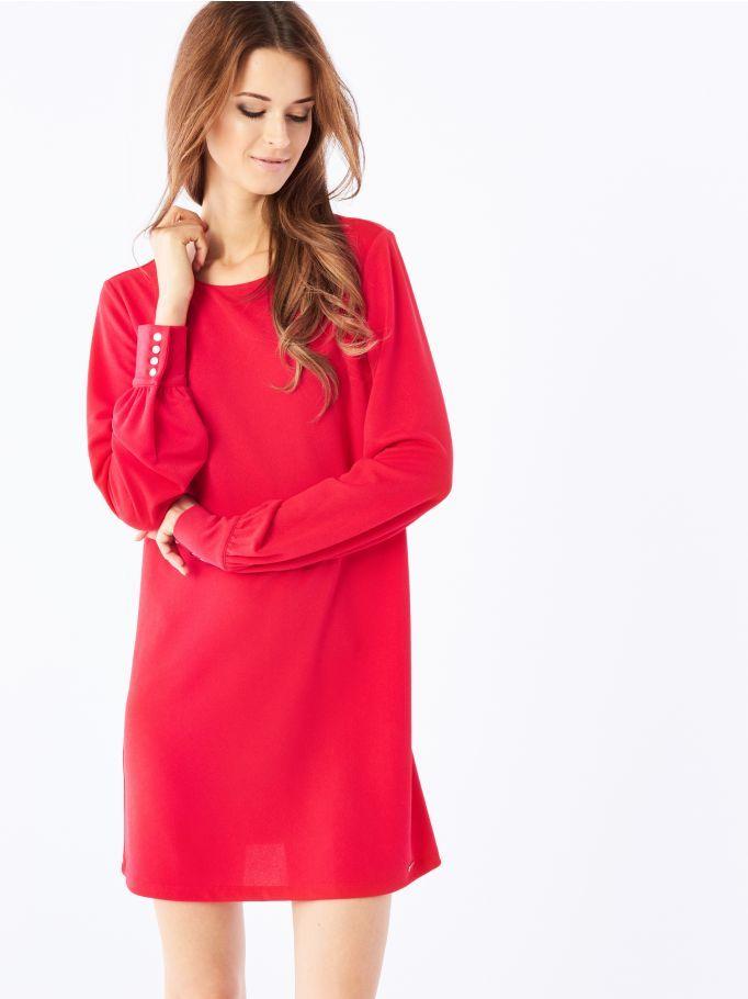Минималистичное платье с присборенными рукавами, MOHITO