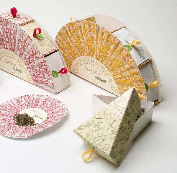 Japanese Ocha Tea Packaging on Behance - This packaging design has a really strong aesthetic appearance with its fan shape. Tea has been wrapped in a soft paper and packed into a triangle box. The boxes are perfectly placed into the fan-shape packages. I really like this idea which illustrates the Japanese culture distinctly and easy to use and save for consumers.