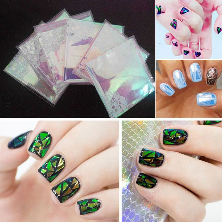 5Pc/Lot 2016 Fashion Punk Transfer Foil Sticker Broken Glass Nail Art DIY Nail Beauty Decoration Stencil Decal NA981