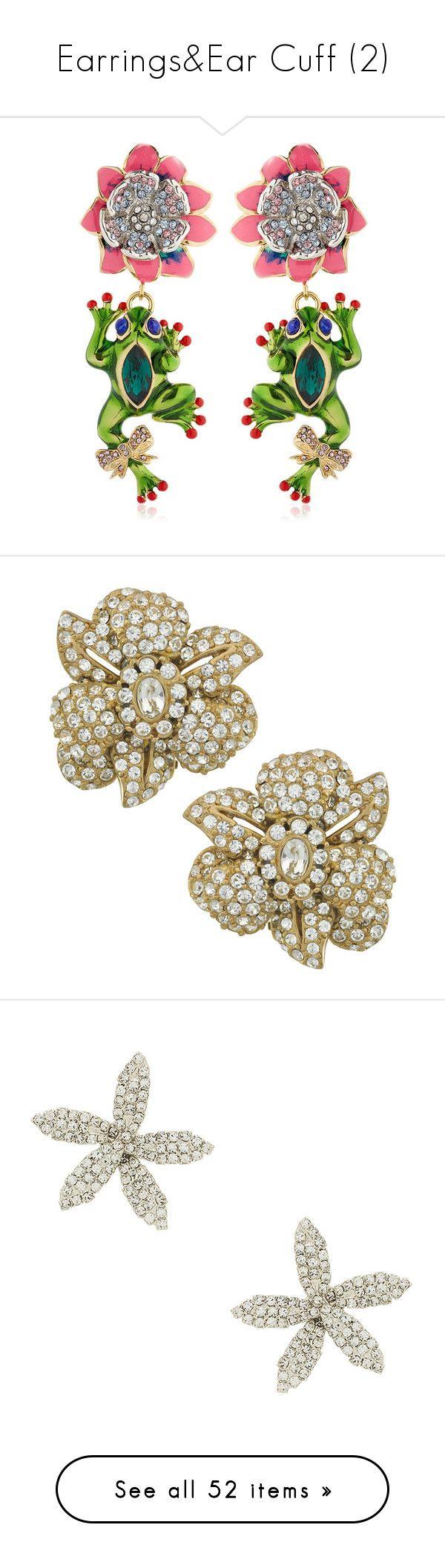 """Earrings&Ear Cuff (2)"" by taught-to-dream on Polyvore featuring jewelry, earrings, nickel free earrings, earring jewelry, casadei, swarovski crystal earrings, nickel free jewelry, gold flower earrings, crystal jewellery e gold jewelry"