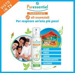 Da Puressentiel 41 oli essenziali per un ambiente più sano - Uno spray che purifica gli ambienti interni (anche 100 volte più inquinati di quelli esterni) e previene problemi respiratori - Contro Acari, Batteri, Virus, Muffe, Funghi -100% Naturale- Anche sui tessuti. http://www.farmaciaigea.com/39_puressentiel