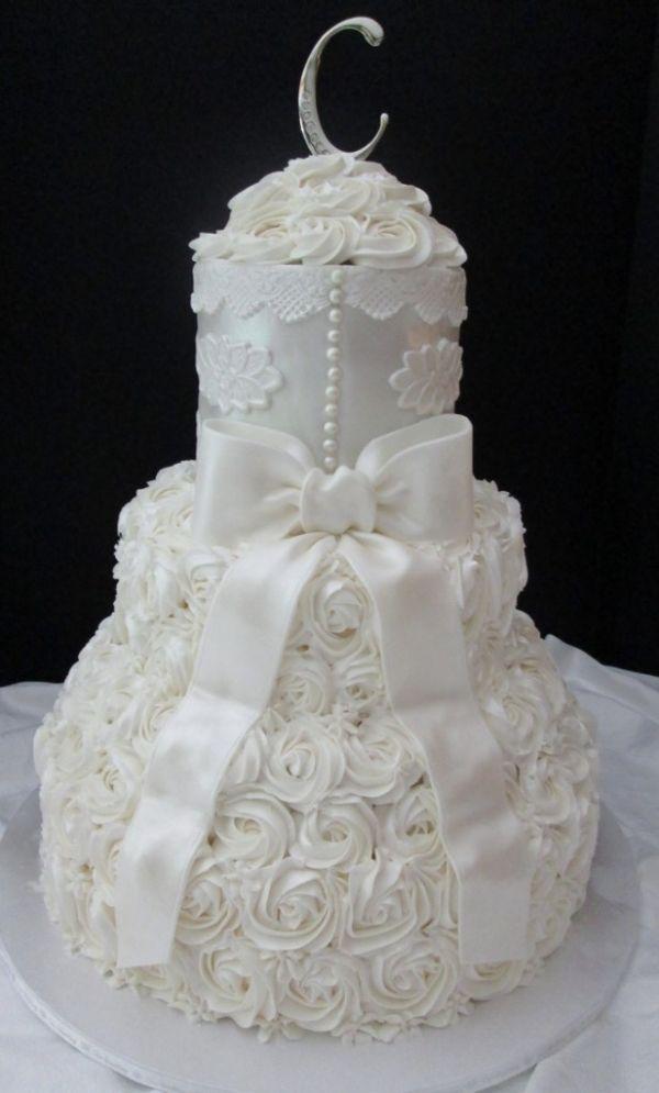 Ivory Applique and Rose Swirls make an elegant #wedding #cake