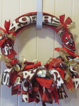 "12"" 49er Wreath- 49er Football Wreath- Sports Wreath- Football Wreath- San Francisco 49er Wreath- 49er Flannel Wreath- 49er Rag Tie Wreath"