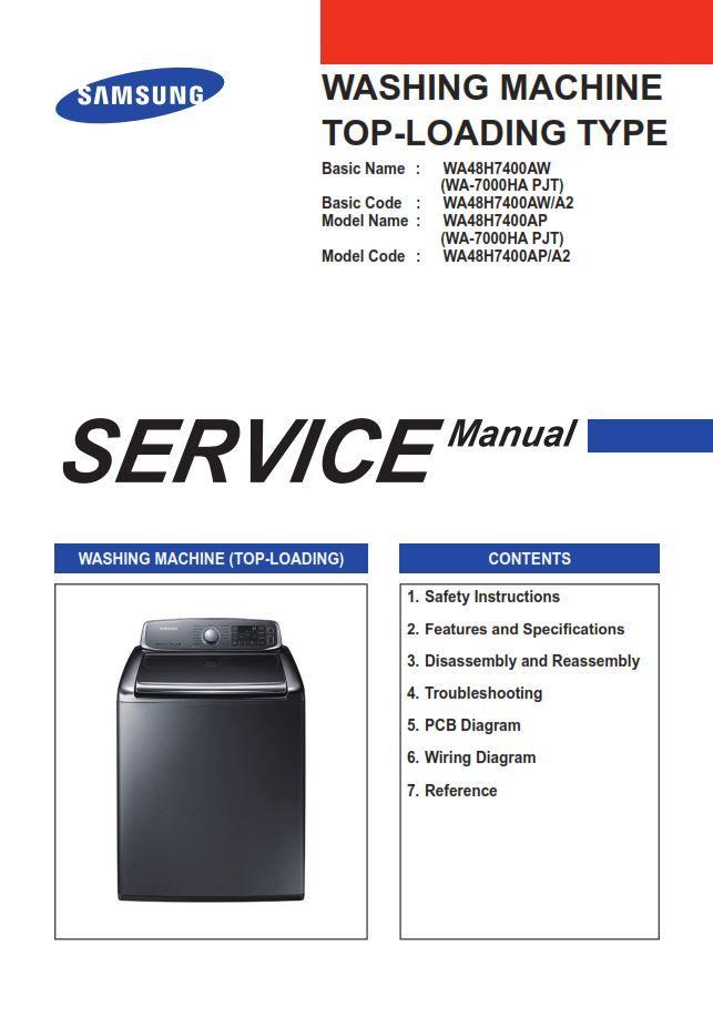 Samsung Wa48h7400ap Washer Service Manual And Repair Guide Repair Guide Manual Disassembly