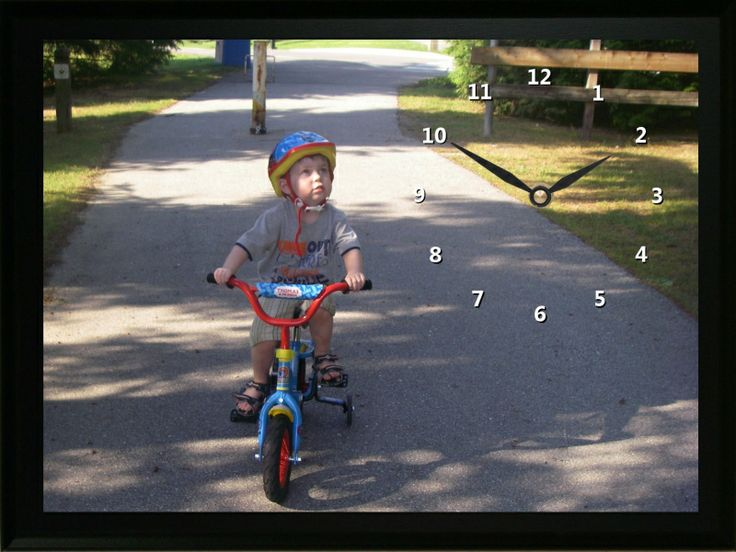 The Child on Bike Clock is a great way for this child to remember when he first learned how to read a bike.