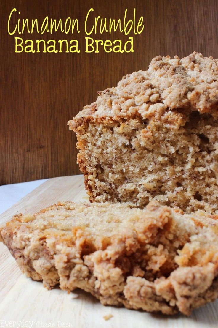 This Cinnamon Crumble Banana Bread is the only banana bread recipe you'll ever need! It's moist and full of banana flavor. The cinnamon crumble on top takes this banana bread from ordinary to extraordinary!    EverydayMadeFresh.com