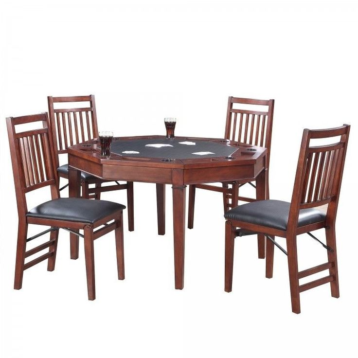 5 Piece Folding Poker Table And Chairs Set Solid Hardwood Octagon Shaped  Table