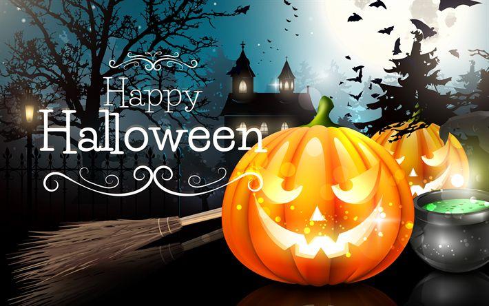 Download wallpapers Happy Halloween, darkness, pumpkin, Halloween