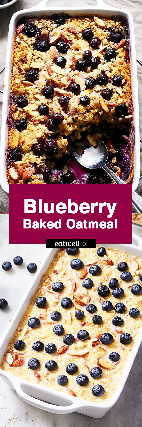 Blueberry Baked Oatmeal - Sweet, crunchy and juicy, comes together quickly and you can easily make a big pan to feed a crowd.