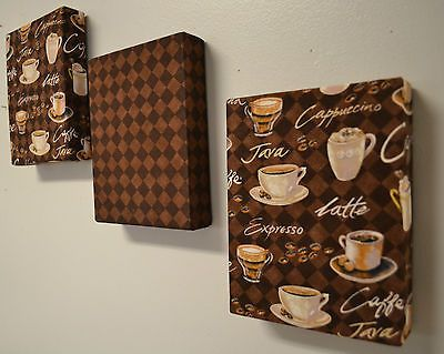 "Coffee theme fabric wall hanging set of 3 6""x8"" ea cappachino espresso decor"