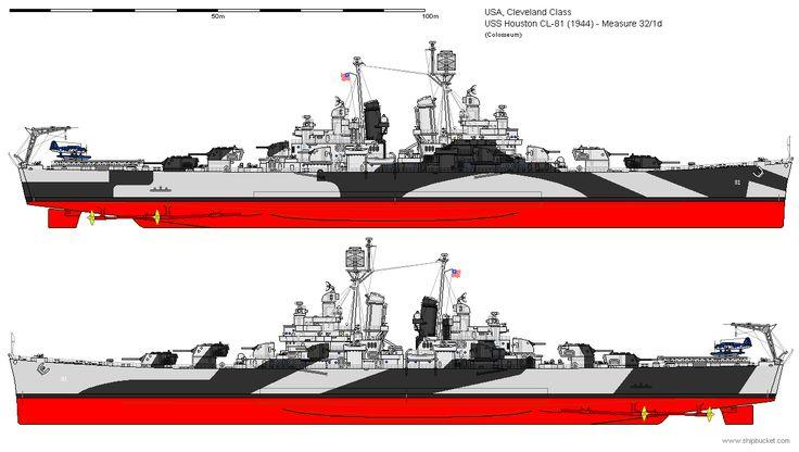 USS Houston (CL-81) Cleveland-class light cruiser, 1944
