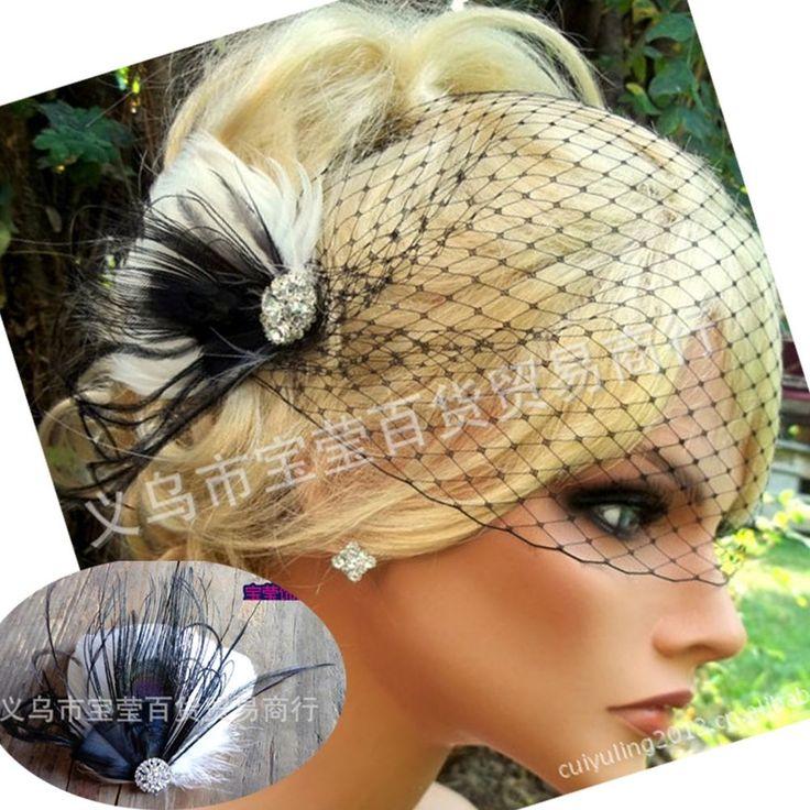 Handmade Wedding Bridal Birdcage Black Face Veil Fascinator Feather With Comb #FullWig