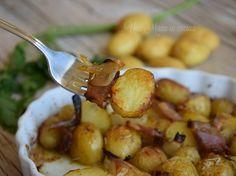 Patate e cipolle novelle con guanciale