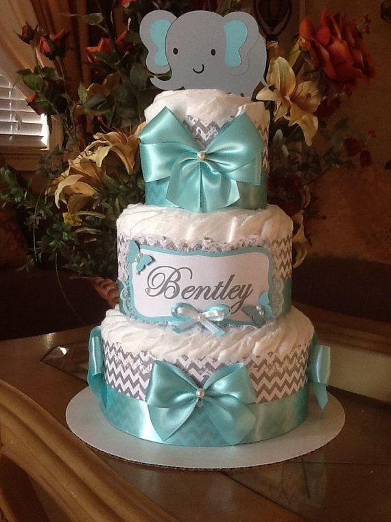 Elephant diaper cake/Neutral elephant diaper cake/Teal and