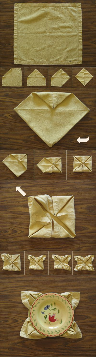 Use a large napkin to create a placemat/charger of sorts, a medium napkin in the center of plates, or a small paper cocktail napkin under glasses at a party for an elegant coaster.