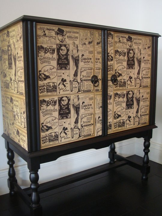 great piece with wallpaper or other paper. #upcycled
