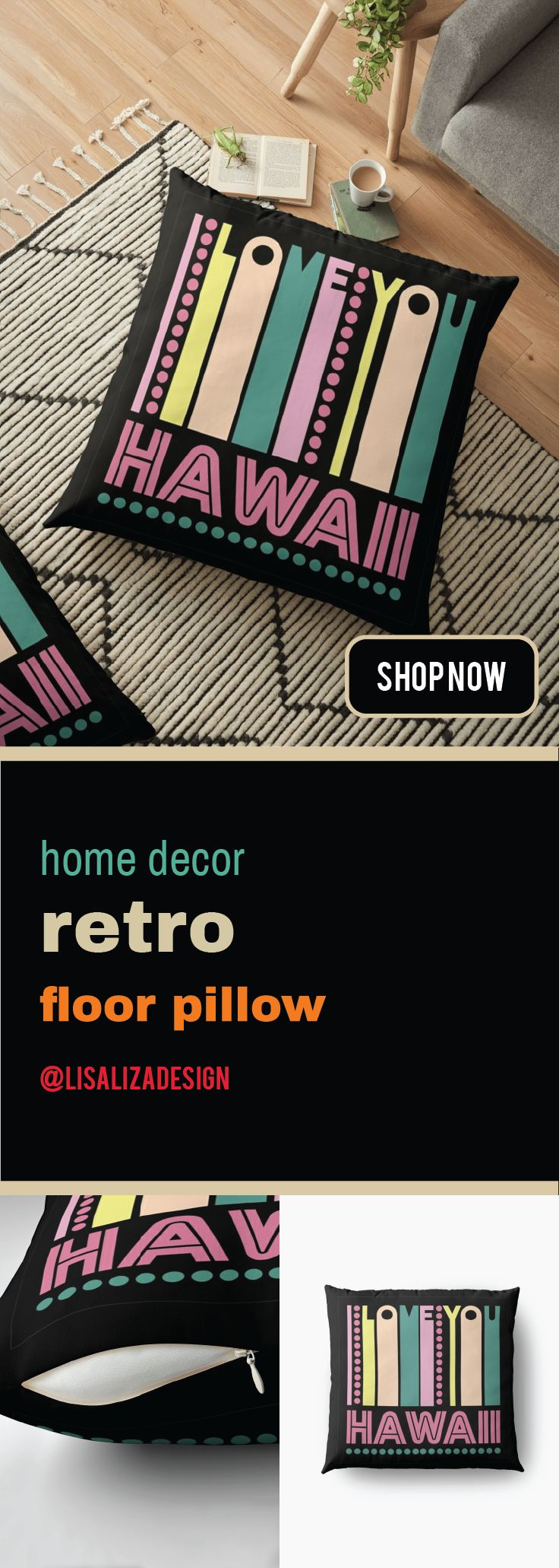 Hawaii I LOVE MY STATE Floor Pillows   This is a the perfect gift ideas for vintage or retro lover.   Receiver of this gift will be most delighted and appreciate your taste of choice.   #FloorPillow #Homedecor #Hugs #Gifts #Largepillow   #FloorCushions #holidaygifts #presents #gifts #Retro   #Vintage #Oldies #RetroHomeDecor #VintageHomeDecor #Hawaii  #Redbubble #Lisaliza #giftideas