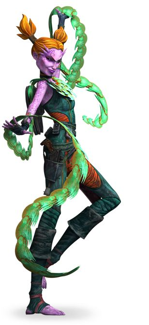 Latts Razzi from Star Wars: The Clone Wars.  Not only is her boa an awesome looking fashion accessory, it's also a weapon!