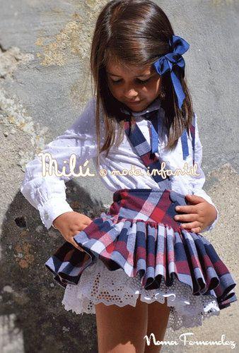 Conjunto niña de falda con tirantes y blusa colección Creta de Noma Fernandez OI16