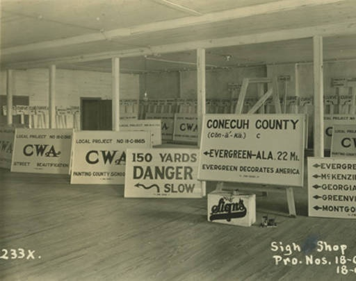Sign shop for the Civil Works Administration in Conecuh County, Alabama. :: Alabama Photographs and Pictures Collection
