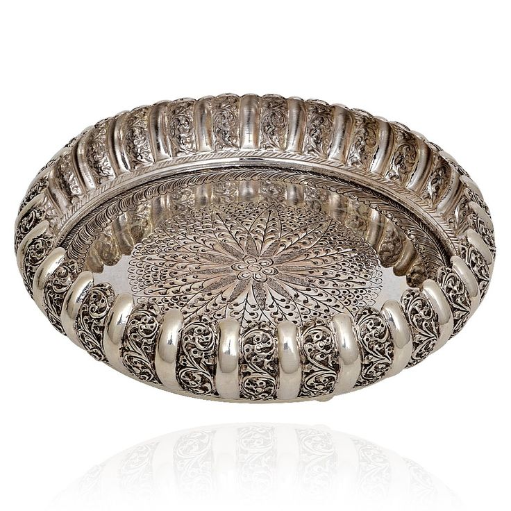 92.5 Silver Pooja Plate with Antique Finishing