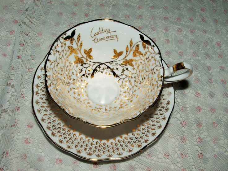 Gorgeous Queen Anne Golden Anniversary Cup and Saucer 50th Anniversary Wedding Anniversary by ThriftyMidge on Etsy