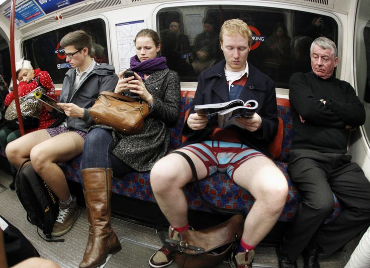 """""""No trousers day"""" participants on a flashmob ride in London"""