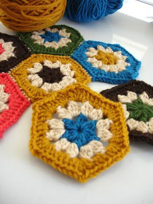 Hexagon block. Free crochet tutorial, which the creator tries to make simple. I found I had to slightly modify it to get it to turn out, but maybe that was just me? Either way, it is easy to create for even a beginner.